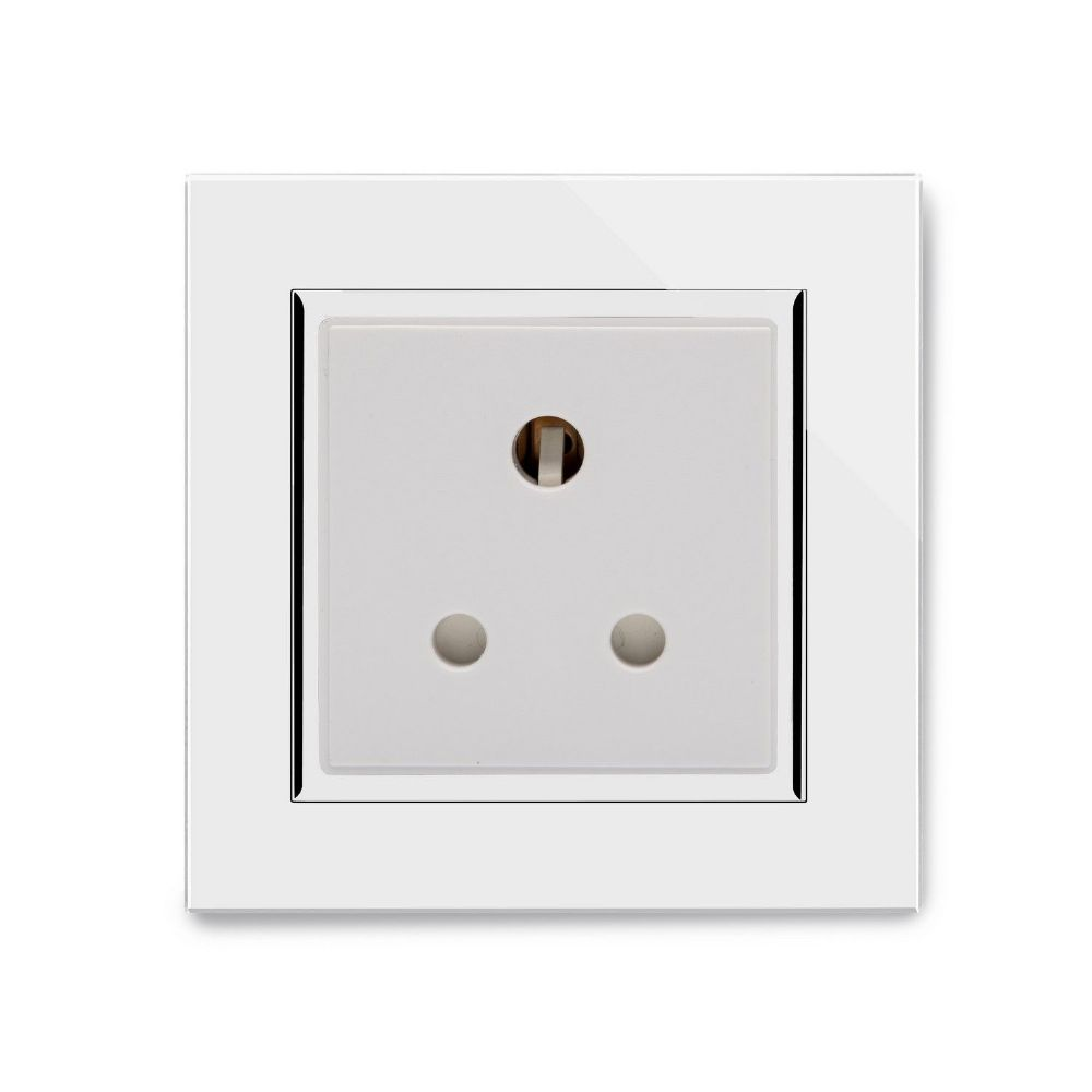 RetroTouch Single 5 Amp Round Pin Plug Socket White Glass CT 04001